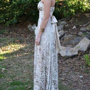 Neutral strapless BCBG dress